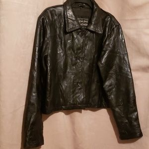 Navarre Italian Stone Black Leather Jacket XL